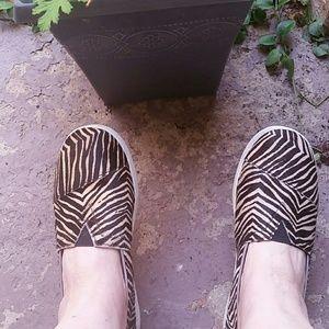 Tom's Zebra Hair Leather Flats